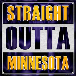 Straight Outta Minnesota Wholesale Novelty Mini Metal Square MSQ-188