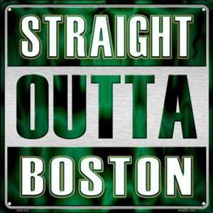 Straight Outta Boston Wholesale Novelty Mini Metal Square MSQ-223