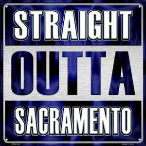 Straight Outta Sacramento Wholesale Novelty Mini Metal Square MSQ-246