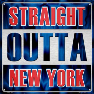 Straight Outta New York Wholesale Novelty Mini Metal Square MSQ-258