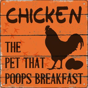 Chicken The Pet That Poops Breakfast Wholesale Novelty Mini Metal Square MSQ-318