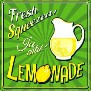 Fresh Squeezed Ice Cold Lemonade Wholesale Novelty Mini Metal Square MSQ-332