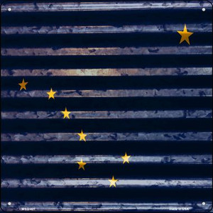 Alaska Flag Corrugated Effect Wholesale Novelty Mini Metal Square MSQ-427