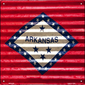 Arkansas Flag Corrugated Effect Wholesale Novelty Mini Metal Square MSQ-428