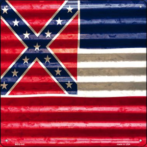 Mississippi Flag Corrugated Effect Wholesale Novelty Mini Metal Square MSQ-448