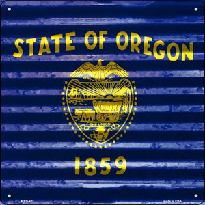 Oregon Flag Corrugated Effect Wholesale Novelty Mini Metal Square MSQ-461