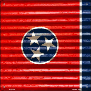 Tennessee Flag Corrugated Effect Wholesale Novelty Mini Metal Square MSQ-466