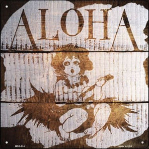 Aloha Painted Stencil Wholesale Novelty Mini Metal Square MSQ-514