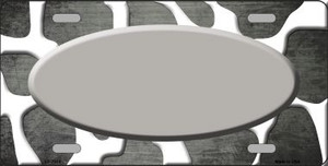 Gray White Oval Giraffe Oil Rubbed Wholesale Metal Novelty License Plate