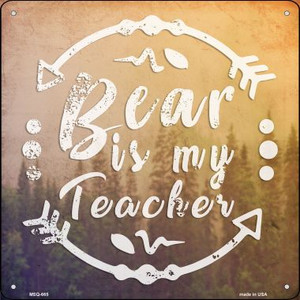 Bear is My Teacher Wholesale Novelty Mini Metal Square MSQ-665
