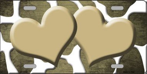 Gold White Hearts Giraffe Oil Rubbed Wholesale Metal Novelty License Plate