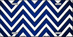 Blue White Chevron Oil Rubbed Wholesale Metal Novelty License Plate