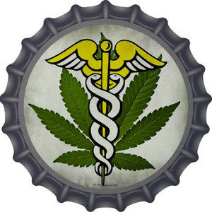 Cannabis Caduceus Wholesale Novelty Metal Bottle Cap BC-1131