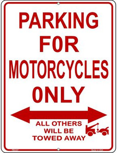 Motorcycle Parking Only Wholesale Novelty Mini Metal Parking Sign PM-007