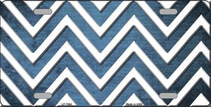 Light Blue White Chevron Oil Rubbed Wholesale Metal Novelty License Plate
