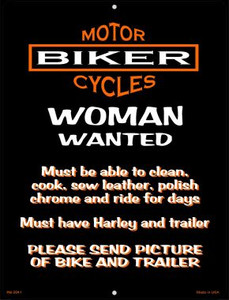 Woman Wanted Wholesale Novelty Mini Metal Parking Sign PM-2041