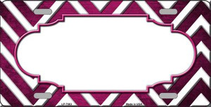 Pink White Scallop Chevron Oil Rubbed Wholesale Metal Novelty License Plate