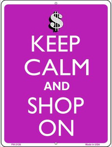 Keep Calm And Shop On Wholesale Novelty Mini Metal Parking Sign PM-2126