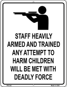 Staff Heavily Armed Wholesale Novelty Mini Metal Parking Sign PM-342