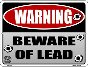 Beware of Lead Wholesale Novelty Mini Metal Parking Sign PM-384