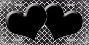 Black White Quatrefoil Hearts Oil Rubbed Wholesale Metal Novelty License Plate