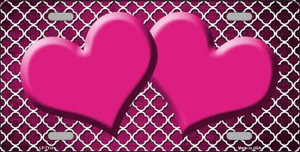 Pink White Quatrefoil Hearts Oil Rubbed Wholesale Metal Novelty License Plate