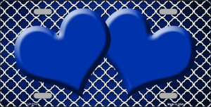 Blue White Quatrefoil Hearts Oil Rubbed Wholesale Metal Novelty License Plate