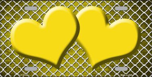 Yellow White Quatrefoil Hearts Oil Rubbed Wholesale Metal Novelty License Plate
