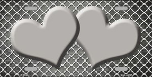 Gray White Quatrefoil Hearts Oil Rubbed Wholesale Metal Novelty License Plate