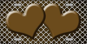 Brown White Quatrefoil Hearts Oil Rubbed Wholesale Metal Novelty License Plate