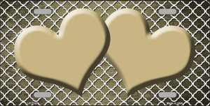 Gold White Quatrefoil Hearts Print Oil Rubbed Wholesale Metal Novelty License Plate LP-7125
