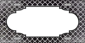 Black White Quatrefoil Scallop Print Oil Rubbed Wholesale Metal Novelty License Plate