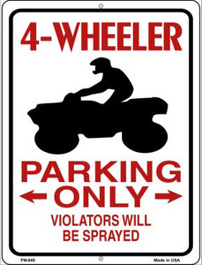 4 Wheeler Parking Only Wholesale Novelty Mini Metal Parking Sign PM-849