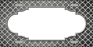 Gray White Quatrefoil Scallop Print Oil Rubbed Wholesale Metal Novelty License Plate