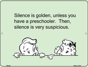 Silence Is Golden Wholesale Novelty Mini Metal Parking Sign PM-982