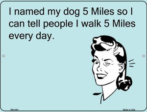 Named My Dog 5 Miles Wholesale Novelty Mini Metal Parking Sign PM-1001