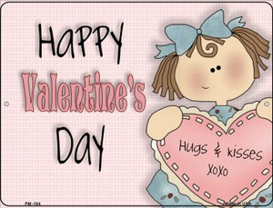 Happy Valentines Day Wholesale Novelty Mini Metal Parking Sign PM-104