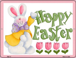 Happy Easter Pink Wholesale Novelty Mini Metal Parking Sign PM-111