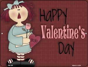 Happy Valentines Day Red Wholesale Novelty Mini Metal Parking Sign PM-106