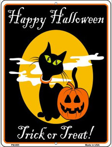 Happy Halloween Black Cat Wholesale Novelty Mini Metal Parking Sign PM-885