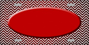 Red White Small Chevron Oval Print Oil Rubbed Wholesale Metal Novelty License Plate