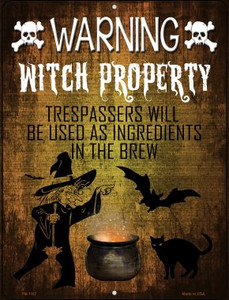 Witch Property Wholesale Novelty Mini Metal Parking Sign PM-1167