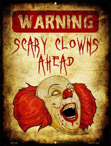 Scary Clowns Wholesale Novelty Mini Metal Parking Sign PM-1168