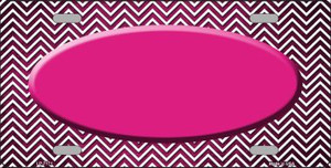 Pink White Small Chevron Oval Print Oil Rubbed Wholesale Metal Novelty License Plate