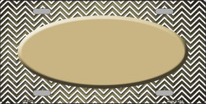Gold White Small Chevron Oval Print Oil Rubbed Wholesale Metal Novelty License Plate