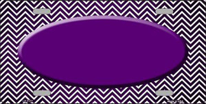 Purple White Small Chevron Oval Print Oil Rubbed Wholesale Metal Novelty License Plate