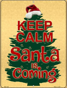 Santa Is Coming Wholesale Novelty Mini Metal Parking Sign PM-1246