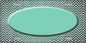 Mint White Small Chevron Oval Print Oil Rubbed Wholesale Metal Novelty License Plate