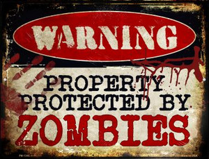 Zombies Wholesale Novelty Mini Metal Parking Sign PM-1345