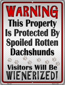 Protected By Dachshund Wholesale Novelty Mini Metal Parking Sign PM-1470